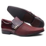 Sapato Social Gofer Em Couro Legítimo Dark Red Com Detalhes Em Blob Xadrez Exclusivo - 0901APU