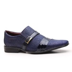 Sapato Social Gofer Em Couro Verniz Dark Blue com Detalhes em Blob Azul - 12403APU-PE