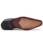 Sapato Social Gofer com Cadarço Em Couro Mestiço Café e Solado em Couro - 17158PU