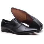 Sapato Social Gofer com Cadarço Em Couro Mestiço Preto e Solado em Couro - 17158PU