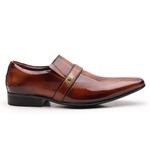 Sapato Social Gofer em Couro Verniz Mogno com Detalhes Estampados Exclusivos - 17288APU