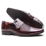 Sapato Social Gofer em Couro Verniz Dark Red com Textura Vector Exclusiva - 0861APU