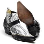 Bota Masculina Texana Premium em Couro Anaconda Preto e Branco