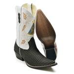 Bota Texana Masculina Cano Longo Premium Platinado Branco