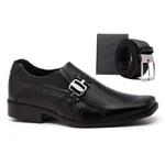 Sapato Social Masculino Bico Quadrado em Couro Preto com Carteira e Cinto