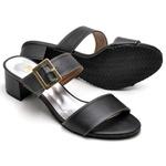 Sapato Feminino Peep Toe Preto com Fivela