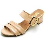 Sapato Feminino Peep Toe Bege com Fivela