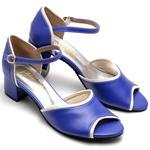 Sandália Feminina Azul e Branco