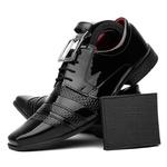 Sapato Social Masculino Com Carteira Cinto Verniz Preto