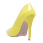 Sapato Feminino Scarpin Verniz Amarelo