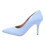 Sapato Feminino Scarpin Salto Médio Verniz Azul Bebê