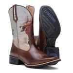 Bota Texana Masculina Peão Rodeio Cano Alto Bico Quadrado 1076