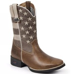 Bota Texana Com Bandeira Americana Masculina Couro 1089