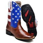 Bota Texana U.s.a Masculina Cano Longo 2504 Bico Quadrado