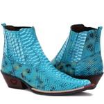 Bota Texana Azul Turquesa Masculina Country Bico Fino Couro Exótica