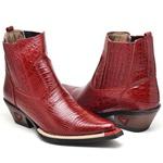 Bota Texana Vermelho Masculina Country Bico Fino Couro Exótica