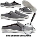 Mule Casual Masculino Calce Fácil Cinza Sola Costurada 571-db