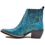 Bota Texana Feminina Bico Fino Em Couro Jacaré Azul Claro 6833