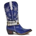 Bota Feminina Country Em Couro Azul Cano Longo Com Bordados 6883