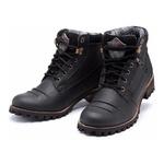 Coturno Casual Masculino Preto Boots 775 Em Couro