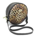 Bolsa Redonda Feminina Lisa Couro Eco Mini Bag Transversal Onça