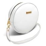 Bolsa Redonda Feminina Lisa Couro Eco Mini Bag Transversal Branco
