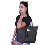 Kit 3 Bolsas Feminina Preta Sacola De Ombro Transversal Grande Forrada Em Vermelho + Bolsa Saco + Carteira Necessaire