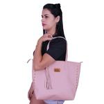 Kit 3 Bolsas Feminina Rose Sacola De Ombro Transversal Grande Forrada Em Vermelho + Bolsa Saco + Carteira Necessaire