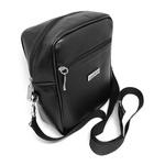 Shoulder Bag Preta Unissex Couro Eco Tira Colo Necessaire