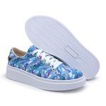 Tênis Feminino Casual Cano Baixo Estampado Azul Floral