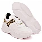 Tênis Dad Sneaker Feminino Branco Com Onça Buffalo Casual TCKN02-MAR