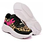 Tênis Dad Sneaker Feminino Preto Com Onça Buffalo Casual Tckn02-mar