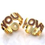 Aliança de Casamento Love You com Rubis