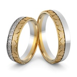 Aliança em Ouro 18k Personalizada Corações com Diamantes