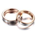 Aliança em Ouro Branco e Rosê com Diamantes
