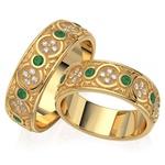Aliança em Ouro 18K com Diamante e Pedras Naturais