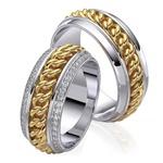Aliança em Ouro 18k Corrente com Diamantes