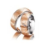 Aliança Bodas de Prata Trabalhada com Diamantes