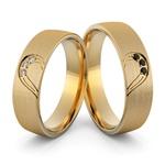 Aliança em Ouro 18k Coração com Diamantes Branco e Diamantes Negro