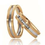 Aliança de Casamento - Ouro Branco e Amarelo com Diamantes
