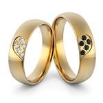 Aliança em Ouro 18k com Diamantes Branco e Diamantes Negro