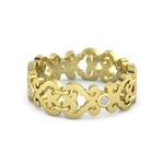 Anel Trabalhado com Diamantes em Ouro Amarelo 18k