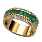 Anel De Formatura Ouro 18k Com Diamantes e Pedras Naturais