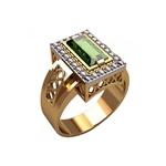 Anel de Formatura em Ouro Amarelo e Branco com Pedra e Diamantes