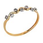 Anel em Ouro Amarelo 18k Ondas com Bolinha e Diamantes
