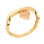 Anel em Ouro Amarelo 18k coração e diamantes