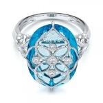 Anel em Ouro Branco 18k Topázio com Diamantes