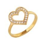 Anel Coração Ouro amarelo 18k vazado com diamantes