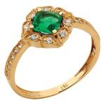 Anel Zircônia Verde - Ouro 18k 750