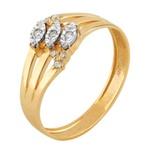 Anel em Ouro Amarelo 18k Navete com Diamantes